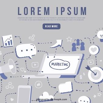 Fundo moderno com elementos de marketing