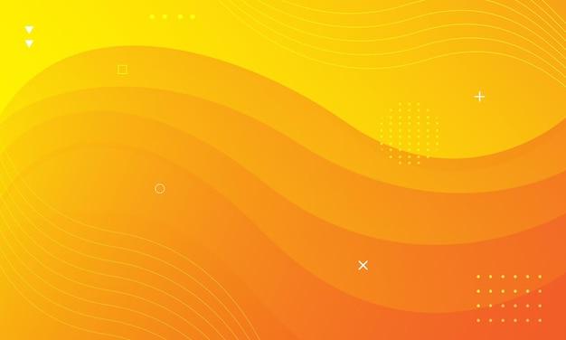 Fundo moderno com estilo de onda de cor amarela brilhante