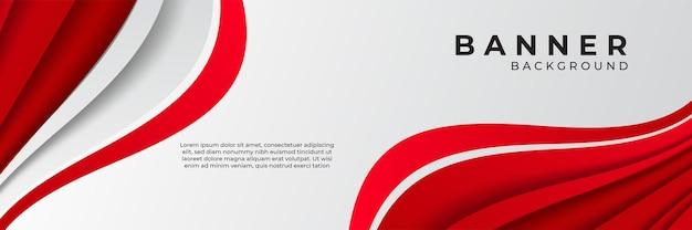 Fundo moderno da bandeira da onda abstrato vermelho e branco escuro com camada de sobreposição 3d e formas de onda