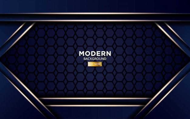 Fundo moderno da forma azul com linhas claras douradas no hexágono.