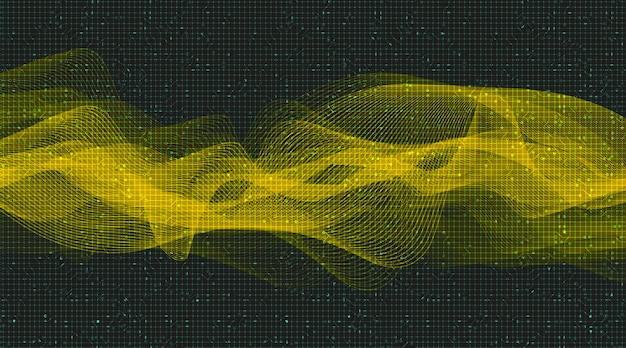 Fundo moderno de onda de som digital de ouro