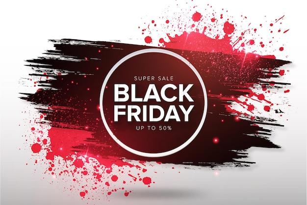 Fundo moderno de venda de sexta-feira negra com respingo vermelho