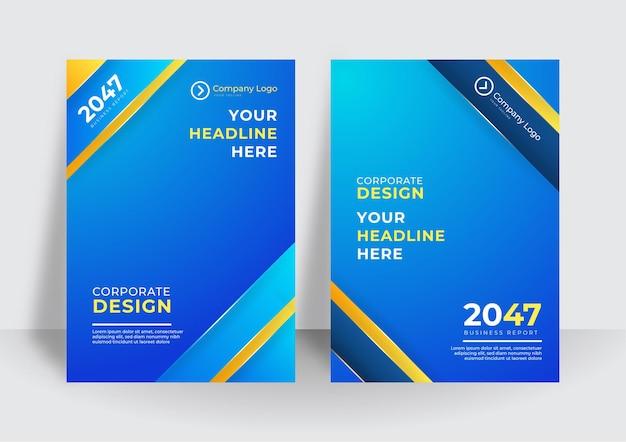 Fundo moderno do modelo de capa amarela azul. modelo de capa abstrata de folheto livreto colorido. modelo de design de capa de negócios para folheto, relatório, catálogo, revista ou livreto.