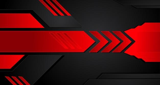 Fundo moderno do molde do projeto da tecnologia da disposição preta vermelha abstrata do quadro do metal.