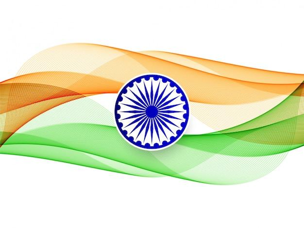 Fundo moderno elegante bandeira indiana ondulada