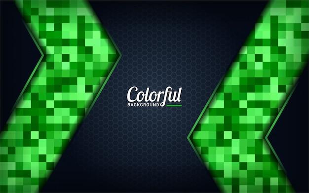 Fundo moderno pixel verde colorido. fundo escuro abstrato