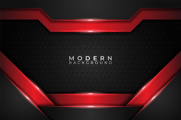 Fundo moderno realístico metálico brilhante sobreposto vermelho e escuro