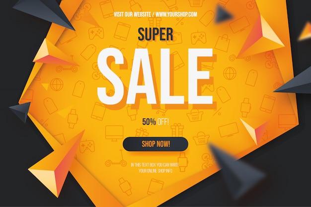 Fundo moderno super venda laranja com ícones