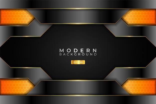 Fundo moderno tecnologia 3d metálica realista brilhante laranja e prata