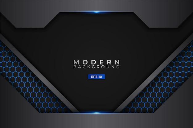 Fundo moderno, tecnologia futurista, azul metálico brilhante com hexágono