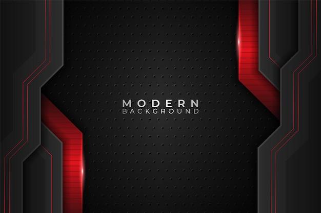 Fundo moderno tecnologia metálica brilhante realista vermelho e escuro