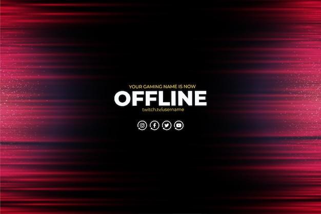 Fundo moderno twitch com linhas vermelhas abstratas offline