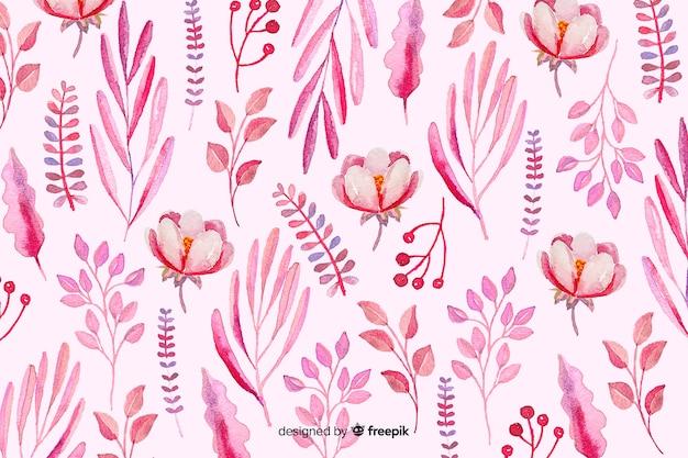 Fundo monocromático de flores em aquarela