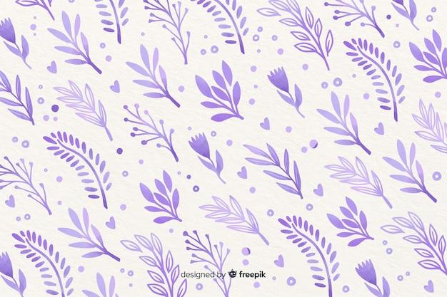 Fundo monocromático de flores violeta aquarela