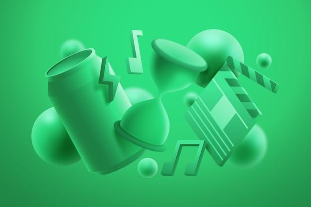 Fundo monocromático de objetos 3d