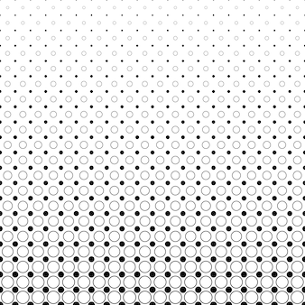 Fundo monocromático de padrão de círculo abstrato - design de vetor geométrico preto e branco de pontos e círculos