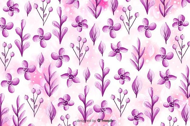 Fundo monocromático em aquarela floral