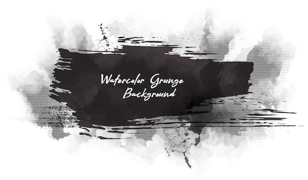 Fundo monocromático grunge abstrato. aquarela e borrão de tinta.