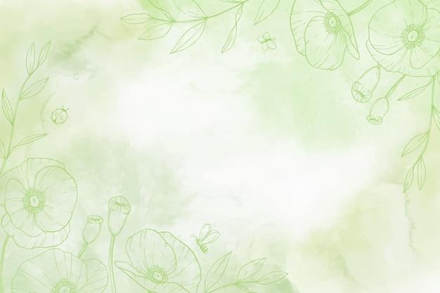 Fundo monocromático pintado à mão com elementos da natureza desenhados