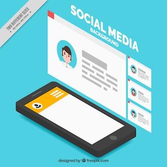 Fundo móvel e redes sociais no estilo isométrico