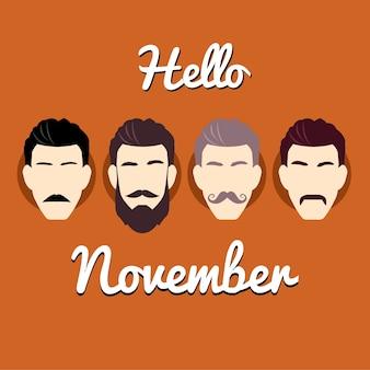 Fundo movember brown com quatro tipos de bigodes