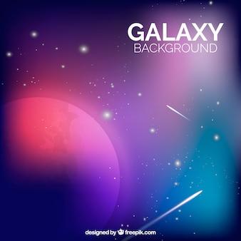 Fundo muito colorido de planetas e galáxias