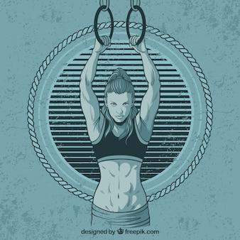 Fundo, mulher, mão, desenhado, desporto