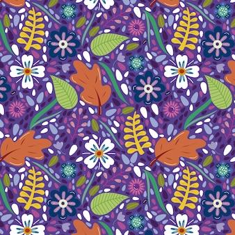 Fundo multicolor com flores e folhas