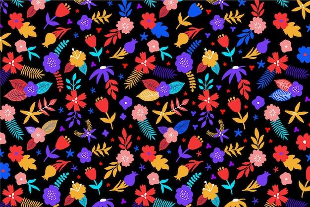 Fundo multicolorido com design floral