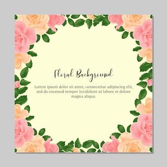 Fundo multiusos com moldura de flor rosa