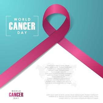 Fundo mundial do dia do câncer. 4 de fevereiro