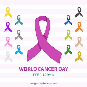 Fundo mundial do dia do câncer com fitas em diferentes cores