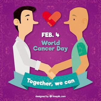 Fundo mundial do dia do câncer com homens