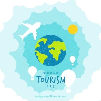 Fundo mundial do turismo de aquarela