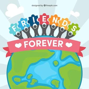 Fundo mundial e amigos com peças de quebra-cabeça