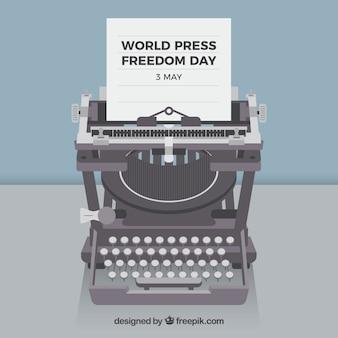 Fundo, mundo, imprensa, dia, máquina de escrever