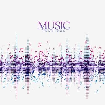 Fundo musical abstrato com música sonora que bate onda