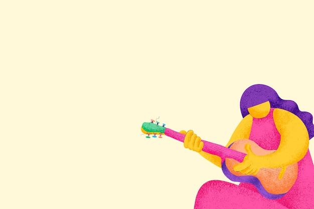 Fundo musical bege com gráfico plano do guitarrista músico