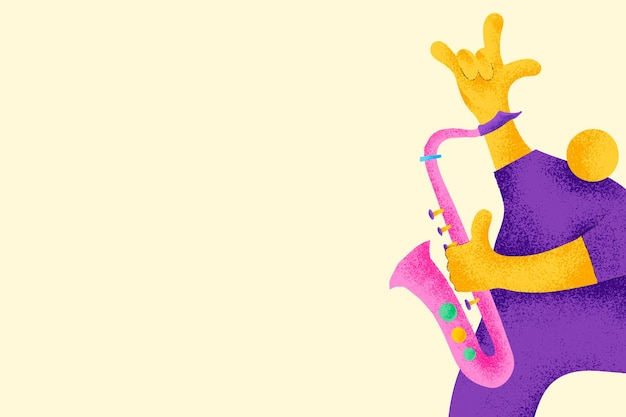 Fundo musical bege com gráfico plano do músico saxofonista