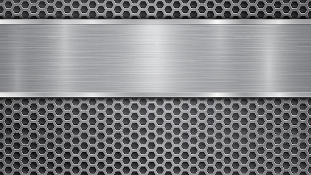 Fundo nas cores cinza, composto por uma superfície metálica perfurada com orifícios e uma placa polida com textura metálica, reflexos e bordas brilhantes