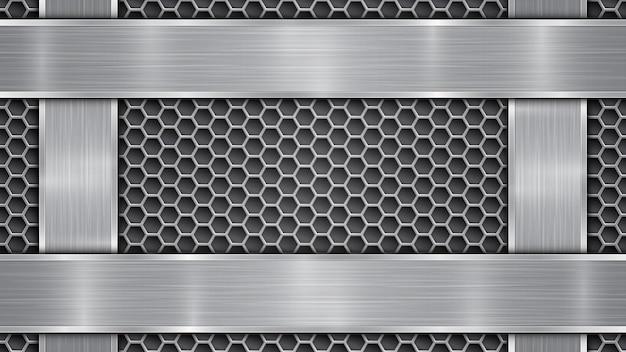 Fundo nas cores prata e cinza, constituído por superfície metálica perfurada com orifícios e placas polidas verticais e horizontais localizadas nos quatro lados, com textura metálica e bordas brilhantes