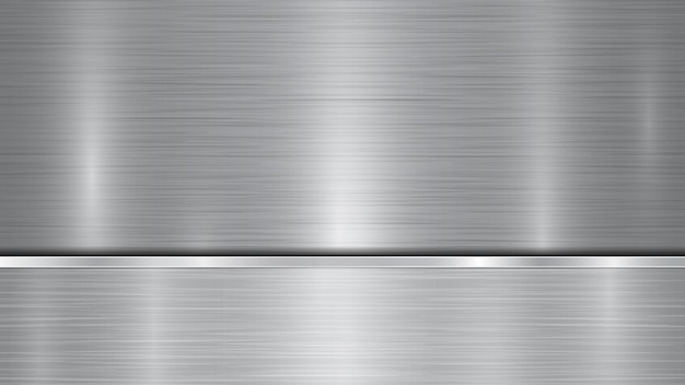 Fundo nas cores prata e cinza, constituído por uma superfície metálica brilhante e uma placa polida horizontal localizada abaixo, com uma textura metálica, brilhos e bordas polidas