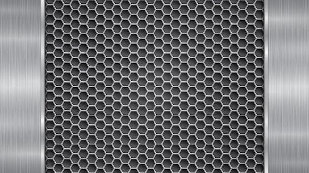 Fundo nas cores prata e cinza, constituído por uma superfície metálica perfurada com orifícios e duas placas verticais polidas localizadas à esquerda e à direita, com uma textura metálica, reflexos e bordas brilhantes