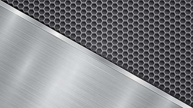 Fundo nas cores prata e cinza, constituído por uma superfície metálica perfurada com orifícios e uma grande placa polida localizada na diagonal, com uma textura metálica, reflexos e rebordo brilhante