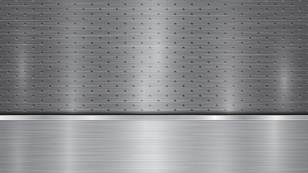 Fundo nas cores prata e cinza, constituído por uma superfície metálica perfurada com orifícios e uma placa polida horizontal localizada abaixo, com textura metálica, reflexos e bordas brilhantes