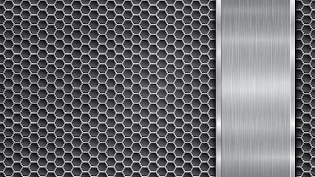 Fundo nas cores prata e cinza, constituído por uma superfície metálica perfurada com orifícios e uma placa vertical polida localizada no lado direito, com uma textura metálica, reflexos e bordas brilhantes
