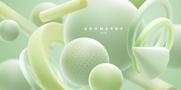 Fundo natural abstrato com formas geométricas em verde-menta fluidas em 3d