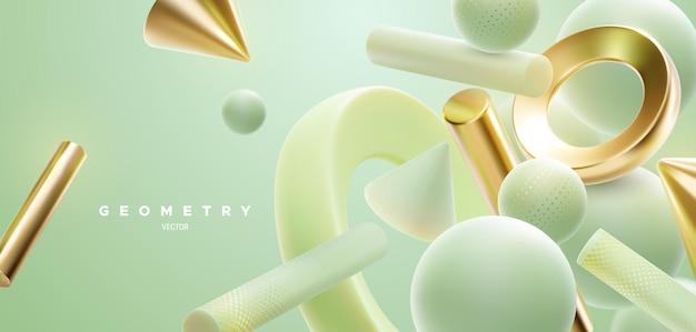 Fundo natural abstrato com formas geométricas verdes e douradas fluindo em 3d