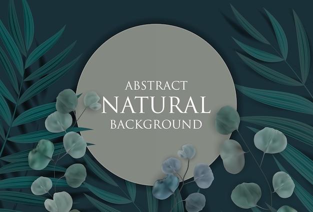 Fundo natural abstrato com moldura, palmeira tropical, eucalipto, folhas monstera