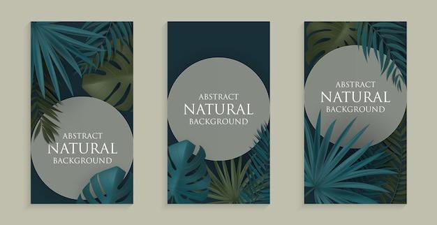 Fundo natural abstrato com palmeira tropical e folhas de monstera para histórias em rede social